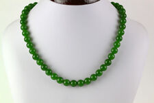 """10MM NATURAL GREEN JADE ROUND BEAD NECKLACE 18"""" AAA+"""