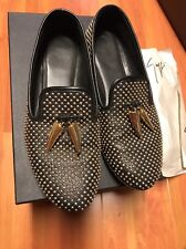 GIUSEPPE ZANOTTI Black and Gold horn Dalila Leather Loafers Sz 38 Studded