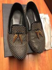 GIUSEPPE ZANOTTI Black and Gold horn Dalila Leather Loafers Sz 38 Studded