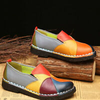 SOCOFY Women Handmade Splicing Genuine Leather Shoes Soft Flat Loafers