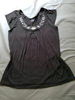 Lane Bryant Women's 14/16 Brown Embroidered Neckline Short Sleeve Top