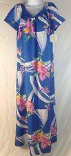 Hilo Hattie's Muu Muu blue floral patio summer beach dress Medium