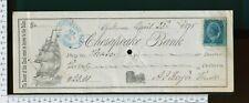 MD Baltimore Chesapeake Bank 1878 Cancelled Check Vignette Sailboat & Stamp