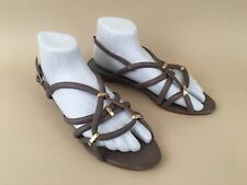 LOEFFLER RANDALL shoes taupe leather wedge strappy dress sandals sz 8 B
