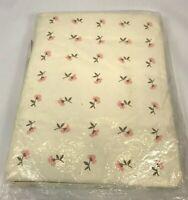 Vintage Drapes Roses Floral Pink Rosebuds Carnation Cottage Shabby Chic Bibb Co