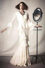 BHLDN Silk Wedding Gown Dress Size 4 S Chiffon Ruffled Layers Banderole Limited
