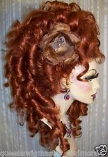Drag Queen Wig Curly Side Up Do Auburn Red French Twist Long Curls