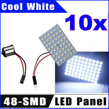 10pcs Cool White 48-SMD LED Panel Dome Map Interior Light Lamp + 1156 dapter 12V