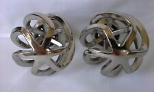Pair Silver Tone Polished Chrome Swirl Cage Drapery Finials