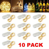10 Pack 6.6ft 20 LEDs Battery Operated Mini LED Copper Wire String Fairy Lights