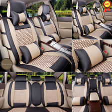 US Car Auto PU Leather Seat Covers L Size 5-Seats Comfortable Full Set BLK/BGE