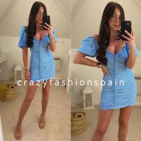 ZARA WOMAN NWT SS20 SKY BLUE DRAPED POLKA DOT DRESS ALL SIZES REF 8342/129