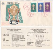 1964 INDONESIA First Day Cover BADMINTON 3rd THOMAS CUP + Information Sheet