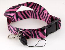 "Fashion Lanyard ""Pink/Black Zebra"" Key chain Cellphone Holder Lanyard"