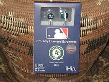 Oakland A's Earphones / Earbud (OFFICIALLY LICENSED) NIB Green