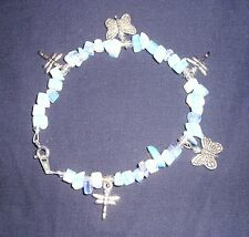 MOONSTONE OPALITE CHIP, BUTTERFLY & DRAGONFLY ANKLET