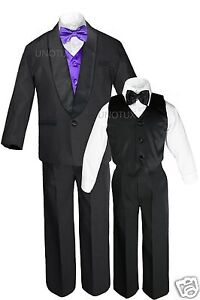 Boys Satin Shawl Lapel Suits Tuxedos EXTRA Purple Bow Tie Vest Sets Outfits S-18