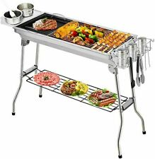 More details for large bbq grill portable folding charcoal barbecue garden picnic bbq steel stove
