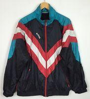 VINTAGE RETRO 80s SHELL SUIT BRIGHT BOLD CRAZY FESTIVAL COAT WINDBREAKER JACKET