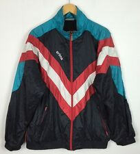 VINTAGE RETRO 80s SHELL SUIT BRIGHT BOLD CRAZY FESTIVAL COAT WINDBREAKER JACKET