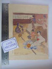 Il GIAPPONE PERIODO originale opera d'arte SLADE artista Harold Duca Collison-Morley Geisha