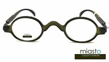 NEW Miasto Retro Mini Oval Round Rx Optical Spectacle Eyeglasses Frames~GREEN
