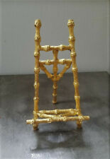 Vintage Gold Metal Faux Bamboo Easel Display Picture Photo Plate Art Stand