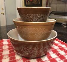 Pyrex Bowl Set (3) Brown Vt Woodland Nesting Mixing Serving Bowls 401, 402, 403