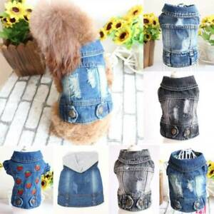 Various Dog Jean Jacket Small Dog Cat Puppy Sleeveless Coat Apparel Pet Clothes