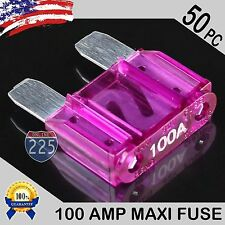 50 Pack 100A AMP Platinum Plated Large Audio Blade MAXI Fuse 12V 24V 32V Auto US
