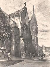 Antique print Basel Dom Switzerland 1879 holzstich Basler Münster Glücksrad