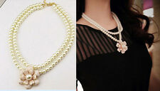 Hot fashion charm elegant double layer pearl chain flower pendant necklace