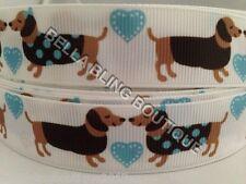 """3 METRES SAUSAGE DOG ANIMAL BOY GIRL LOVE GROSGRAIN RIBBON 22MM 7/8"""""""