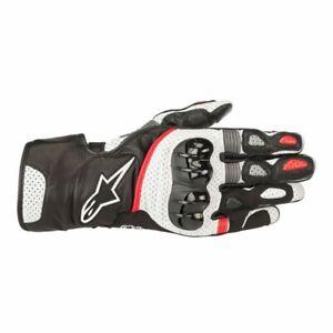 Alpinestars SP-2 V2 Leather Gauntlet Gloves BLACK WHITE RED SHIPS FREE