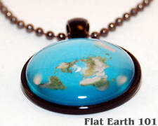 Flat Earth Map Necklace - FE Activism Pendant - Ball Chain + Charm - Firmament -