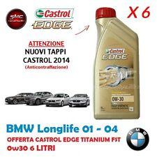 6 SEI LITRI OLIO CASTROL EDGE TITANIUM FST 0W30 ORIGINALE BMW LONGLIFE 04