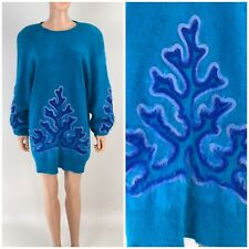 Vintage 80s Oversized Keomi Sweater 80% Angora Turquoise Fuzzy Soft GOLDBERGS L