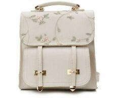 School Backpack Teenage High Quality Leather Women Shoulder Bag Floral Rucksack