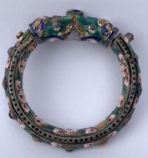 Antique Old Chinese Export Silver Enamel Elephant Multi Jeweled Bangle Bracelet