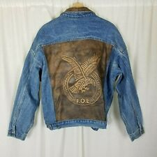 Fraternal Order of Eagles FOE Leather Patch Denim Jean Trucker Jacket Mens XL