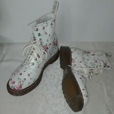 Rare Dr Martens 1460 White/Pink Floral Leather Boots NEW US Size 7 EU 38 UK 5