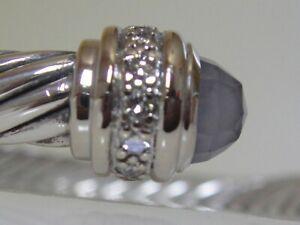$3550 DAVID YURMAN 18K WHITE GOLD ,SS DIAMOND BLUE CHALCEDONY BRACELET