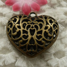 free ship 21 pieces bronze plated heart charms 36x35mm #4135