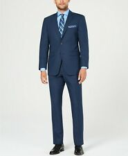 $395 Perry Ellis Slim-Fit Stretch Medium Blue Sharkskin Suit 46L 46 40 x 34 NEW