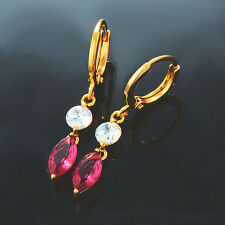 womens Yellow gold Plated lucky Red Cubic Zirconia Drop earrings earings