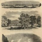 Fort Wachita Arbuckle Davis Texas Infantry 1861 old wood engraved print Harpers