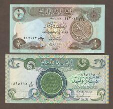 Iraq 1/2; 1 Dinar 1985, 1984; UNC; P-68, 69; L-B325b, B326c; set of 2 notes
