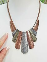 Vintage Tri-Metal Bib Collar Copper Round Snake Chain Link Choker Necklace