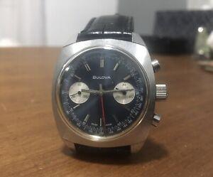 Vintage Bulova chronograph panda wristwatch