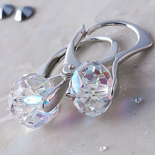 925 Sterling Silver Leverback Earrings *Briolette* AB Crystals from Swarovski®